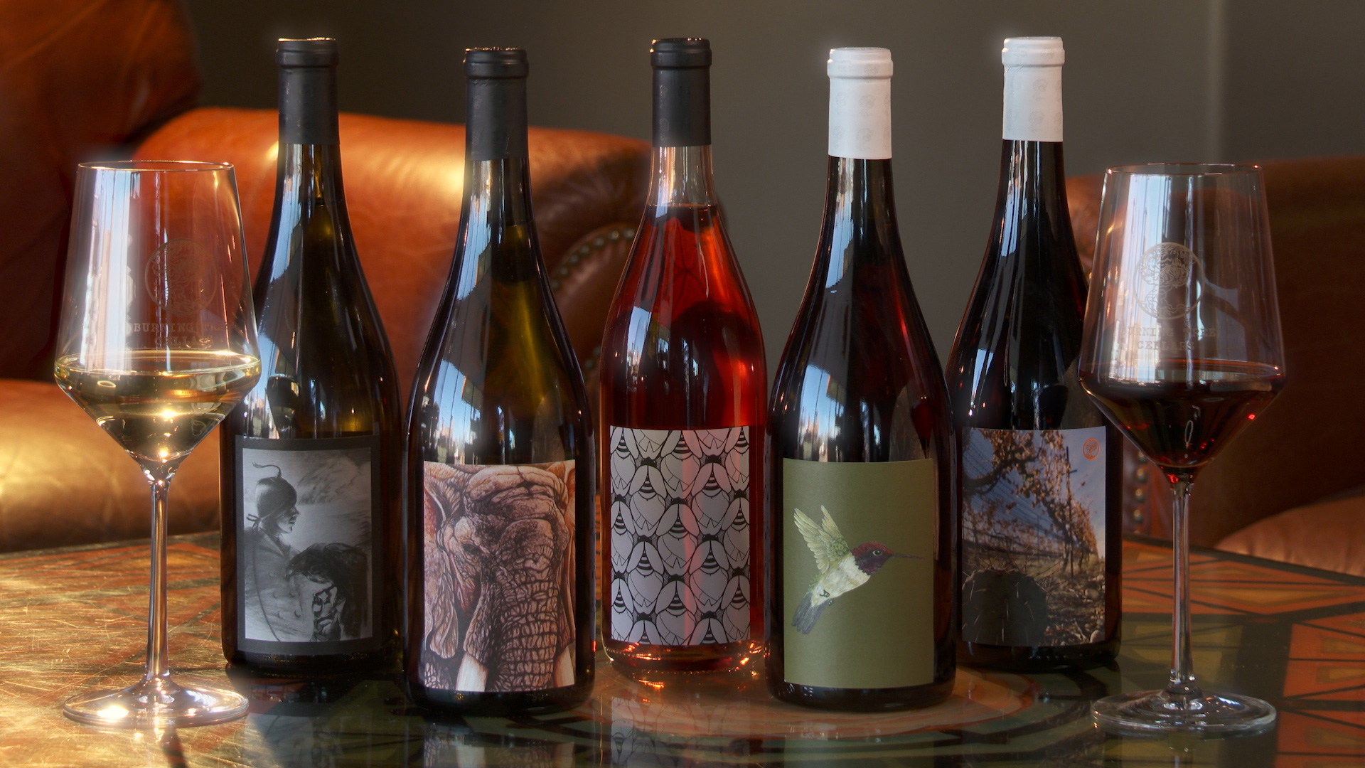 Wine bottles available at Burning Tree Cellars