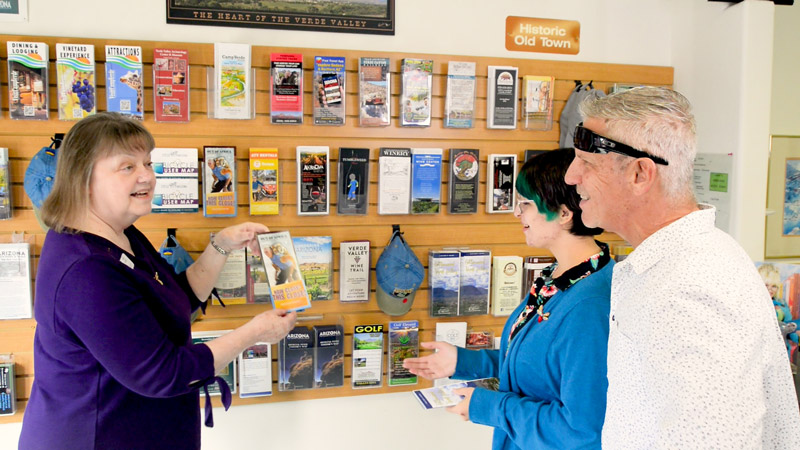 Local volunteer giving information at the Cottonwood Chamber of Commerce Visitor Center