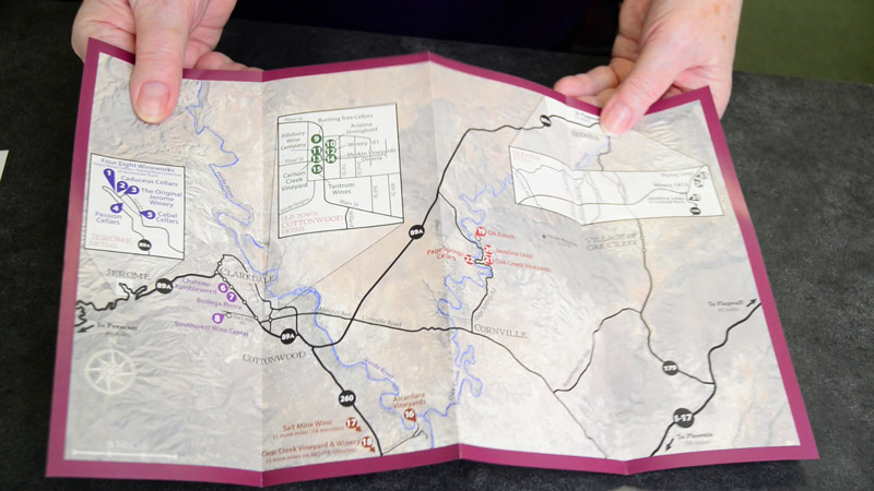 Verde Valley Wine Trail map available at the Cottonwood Chamber of Commerce Visitor Center